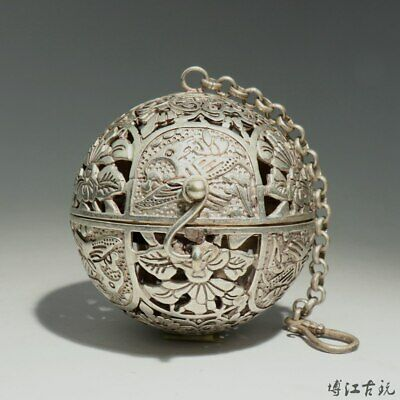 Collectable China Old Miao Silver Hand-Carved Bloomy Lotus Auspicious Censer