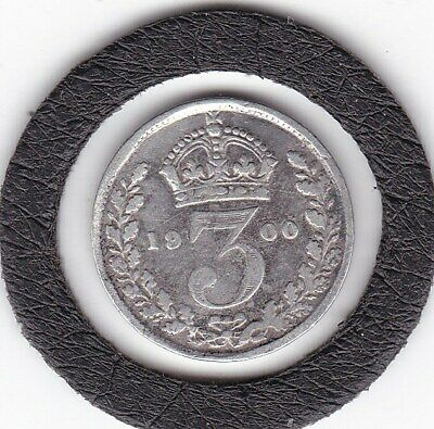 Older  Head  1900   Queen  Victoria  Threepence  (3d)  Silver (92.5%) Coin