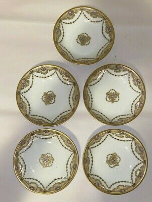 Vintage Nippon Moriage Berry Bowls Set of 5 Porcelain Hand Painted