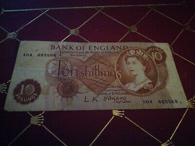 Old Bank Of England 10 Shilling Banknote O'Brien A04 685568 * Free UK Postage *