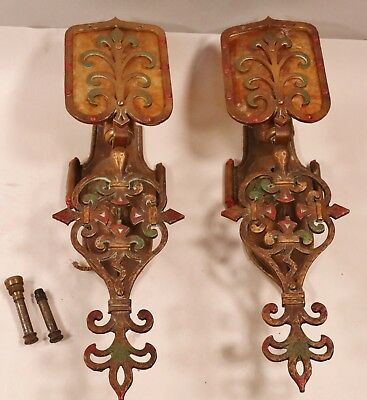 PAIR OF ARTS AND CRAFTS SPANISH REVIVAL  ELECTRIC WALL SCONCES ORIGINAL Nice!!