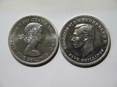 Great Britain 1951 1960 5 Shillings Crown George Vi Qeii World Coin Lot 🌈⭐🌈