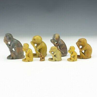 Vintage Set Of Chinese Carved Soapstone - Oriental Monkey Figures - Unusual!