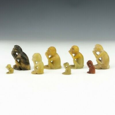 Vintage Set Of Chinese Carved Soapstone Oriental Monkey Figures - Unusual!