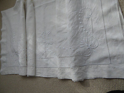 FRENCH METIS SHEET / FABRIC / TEXTILE with MONOGRAMME LADDERWORK EMBROIDERY