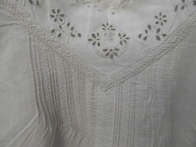 Lovely French Shirt Dress Linen Handmade Embroidery Smocking Monogramme H