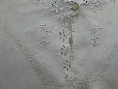 Lovely French Shirt Dress Linen Handmade Embroidery Monogramme Hf