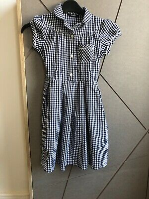 Girls Navy gingham Button Up school dress George Aged 5-6 Bow