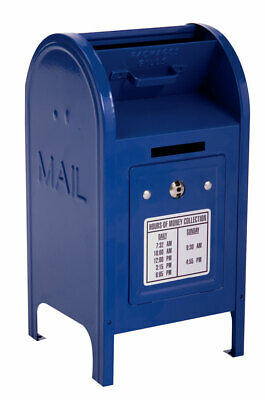"""Schylling Blue 7 1/2"""" METAL Mini Mail Box Bank with Two Keys NEW in Box"""