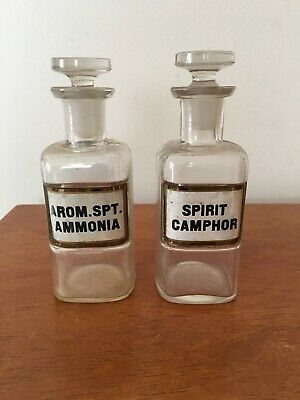 Antique  Apothecary Jars  With Ground Glass Stoppers & Lug Labels