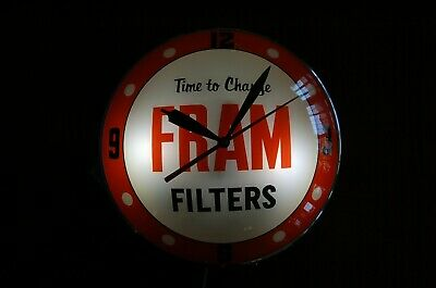 Fram Double Bubble Clock advertising clock sign