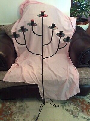 """Tall Candlearbra, Black, Gothic/church Style, Holds 7 Candles, 4'1"""" (124cm)"""