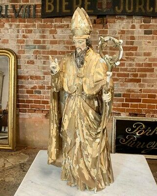18Th Century Carved Lime Wood And Gesso Saint