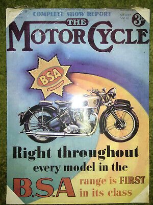 The Motor Cycle B.S.A. Metal Poster (30cm X 20cm). Different posters available.
