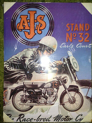 AJS Race-bred Motor Cycles. Metal Poster (30 X 20cm).Different posters available