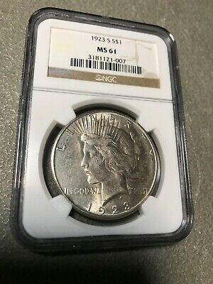 1923 S Silver Peace Dollar MS 61 Grade By NGC