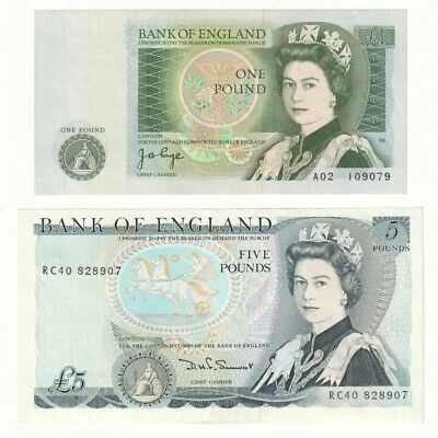 Bank of England £1 and £5 Pound Banknotes (1978 - 1987) EF/aUNC.