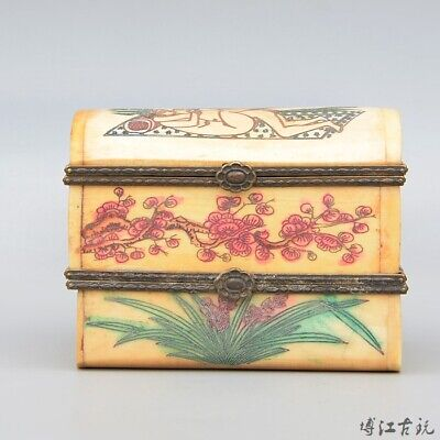 Collectable China Old 0x B0ne Hand-Carved Couple Life Two-Tier Unique Jewel Box