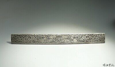 Collect Old Miao Silver Hand-Carved Myth Dragon & Fish Luck Paperweight Statue