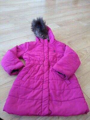 Girls Joules Coat - Age 4-Pink Quilted With Hood