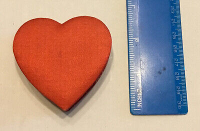 "Vintage Miniature Red Valentine Heart Candy Box 2 1/4"" X 2 1/2"" Made In Japan"