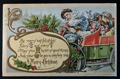Blue Robe~Santa Claus in Old Car full of Toys~Holly~1910~Christmas Postcard-a-20
