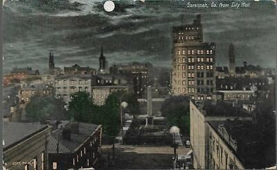 Savannah, Georgia - night scene from City Hall - postcard, stamp, local pmk 1908