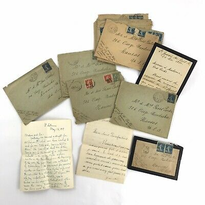 Antique Original WWI Survivor Letters France US 1917 - 1921