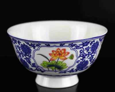 Collect China Old Porcelain Paint Seasons Blooming Flower Delicate Qianlong Bowl
