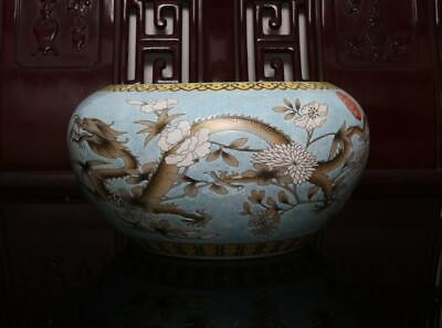Old Rare Famille Rose Chinese Porcelain Dragon Brush Washer Yongqingchangchun MK