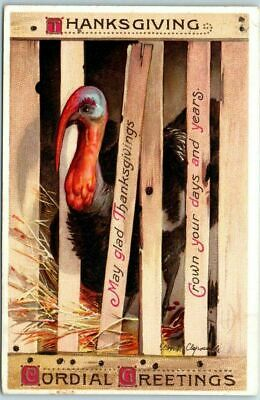 Vintage Artist-Signed CLAPSADDLE~Thanksgiving Postcard Turkey in Crate -a-24