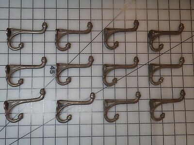 Antique Victorian Coat Hooks, 12 Rather Ornate Cast Iron or Steel