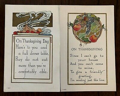 Lot of 2~Antique~Arts & Crafts ~Thanksgiving Postcards~Poems~Turkey~Fruits--a-26
