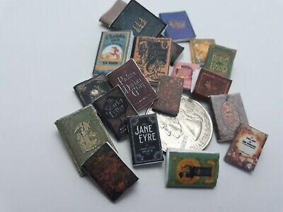 Dollhouse  Lot of  miniature Books vintage titles antique old versions 20 books