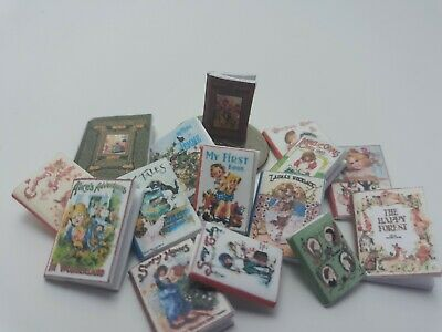 Dollhouse  Lot of  miniature Books vintage titles antique old versions 15 books
