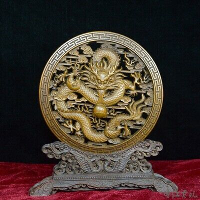 Collect Old Boxwood Hand-Carved Myth Dragon Auspicious Dish Screen Decor Statue