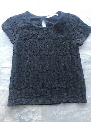 M&S Girls Black Embroidered Lined Top Age 7-8 Yrs
