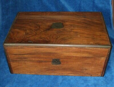 Antique 19Th Century Portable Wood Writing Desk Hidden Drawers & Key