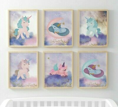 Unicorn Girls Magical Nursery WalArt Print Decoration Poster Pictures Pink Decor