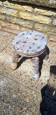 RUSTIC WOOD MILKING STOOL/ Plant Stand Circular