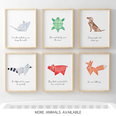 Beautiful Origami Nursery Prints Childrens Baby Room Decor Wall Art Posters