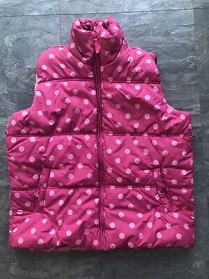 Next Girls Pink Spot Puffer Gilet/sleeveless Jacket Age 13-14 Yrs