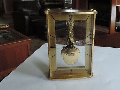 Hamilton Clock With Unusual Movement Vintage 8 Day 1970 Keeps Time