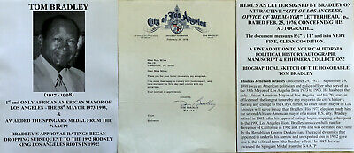 1st & ONLY BLACK MAYOR LOS ANGELES RODNEY KING RIOTS NAACP MEDAL LETTER SIGNED !