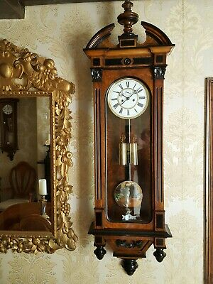 Antique 2 weight Vienna regulator wall Clock by A.Willmann &Co