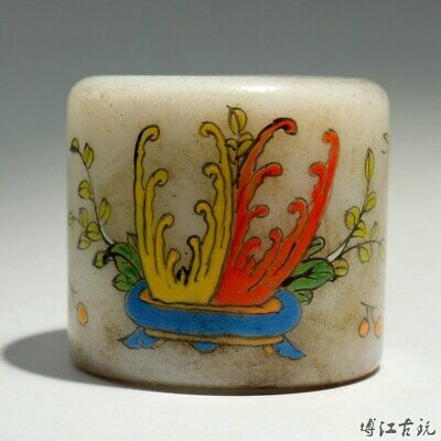 Collectable Old Coloured Glaze Hand Paint Bloomy Flower Butterfly Delicate Ring