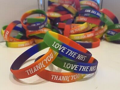 DEBOSSED 'THANK YOU NHS' WRISTBAND SILICONE, INSTOCK!  ADULT SIZE 25% To Charity