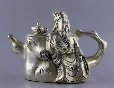 Collect China Antique Tibet Silver Hand-Carved Immortal Moral Auspicious Tea Pot