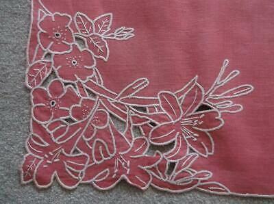 Vintage Tablecloth~ Pink with Cutwork Corners~