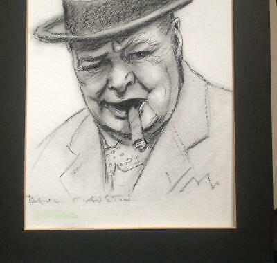Winston Churchill Portrait ORIGINAL Charcoal UK Artist Paul F Austin